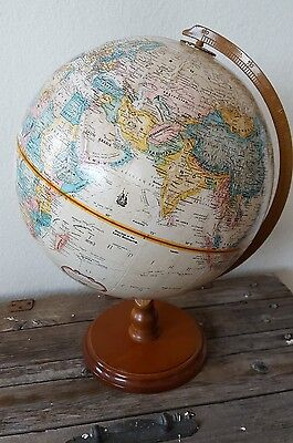 "REPLOGLE 12"" DIAMETER GLOBE WORLD CLASSIC SERIES Wood Base Antique"
