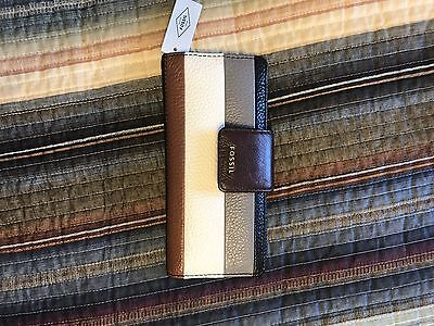 NWT Fossil Madison Clutch Leather Wallet Black White Tan Gray