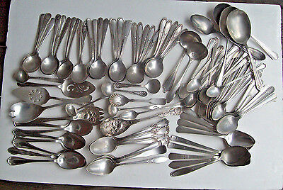98 Pc 9 LB Silverplate SPOONS Gumbo Soup Iced Tea  Serving Arts & Crafts Scrap