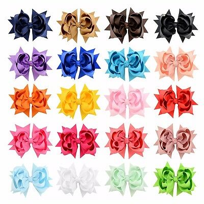 "20 Pcs 3"" Girls Grosgrain Ribbon Boutique Double Layer hairbows For Baby Girls"
