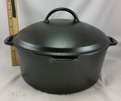 Vintage Early Wagner Ware #8 D 5 QT Cast Iron Dutch Oven Scalloped Lid Seasoned