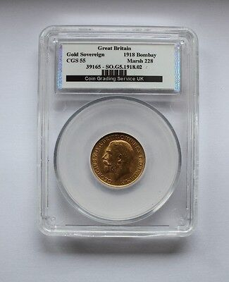 1918 George V  Gold Sovereign Bombay Mint CGS 55 coin no39165