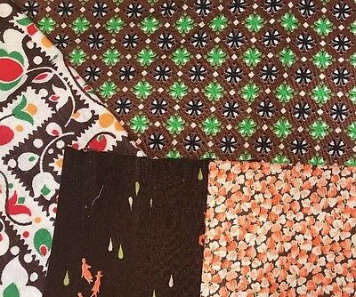 Vintage Cotton Quilt Fabric Brown Pink Green Floral Dogs Dutch PA 1yd+1FQ+2pcs