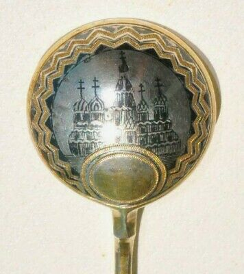 "1876 y. RUSSIAN IMPERIAL ROYAL MOSCOW NIELLO SPOON 84"" STERLING SILVER GOLD ART"