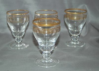 Set of four vintage 60/70s gold striped sherry glasses
