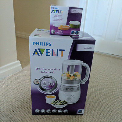 Philips AVENT 4-in-1 Baby Food Maker Steam Blend Defrost Reheat SCF875/01 + tubs