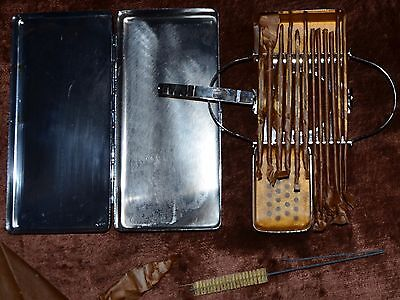 WW2 AESCULAP military surgeon`s instruments set in sterilization metal case MINT