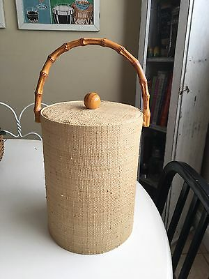 Vintage Retro Mid Century Modern Boho Tiki Sea Grass Ice Bucket w/ Bamboo Handle