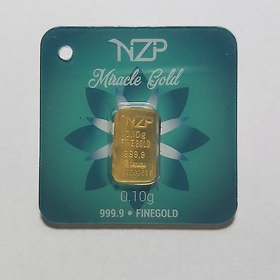 0.1 Gram Gold Bar From Nzp Gold 999.9 Pure
