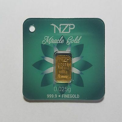 0.025 Gram Gold Bar From Nzp Gold 999.9 Pure