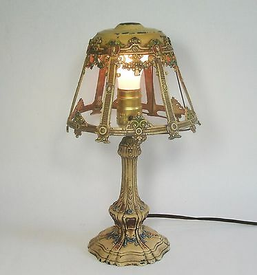w Antique Vtg Small PAINTED CAST METAL LAMP BASE & SHADE Works needs Shade Harp