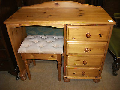 313 - 20th Century Pine Dressing Table with Stool
