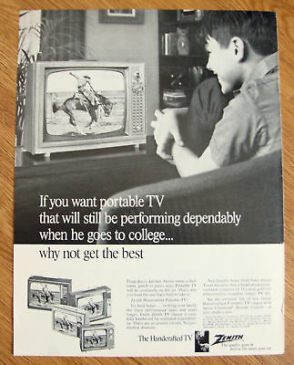1967 Zenith Portable TV Ad When he goes to College