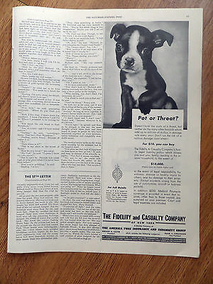 1945 Fidelity & Casualty Co Ad      Boston Terrier Dog Puppy