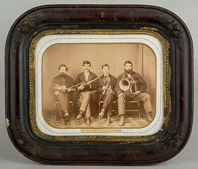 c.1870s 8x10 ALBUMEN PHOTO Silver Creek QUADRILLE BAND rare 'G' CORNOPEAN cornet