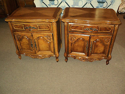 Pair of Pecan French Provincial Nightstands by Stanley