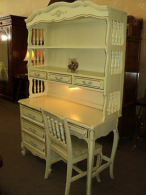 White French White Desk with Hutch & Chair by Henry Link