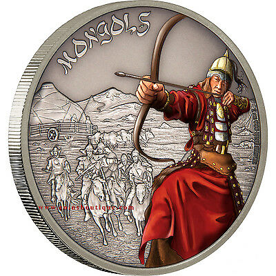 Mongols-Warriors of History Silver Coin Antiqued Niue 20017