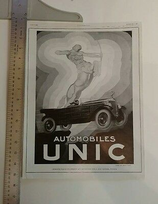 Vintage French Print Ad- Automobiles Unic-1928- Affiches Lutetia