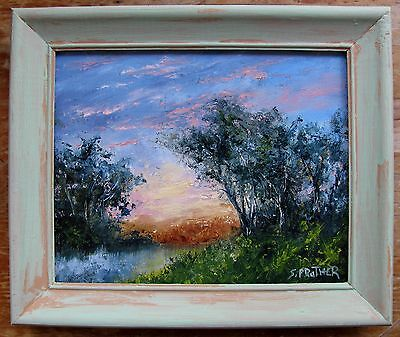Original Framed Impressionism Sunset Oil Painting 8x10 S Prather with C.O.A.