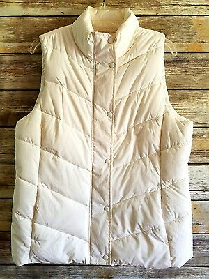 Gap Women's Winter White Zip Up Puffer Vest Size Large