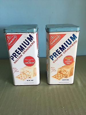 Set Of 2 Vintage Nabisco Premium Saltine Crackers Tins
