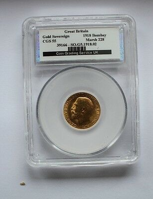 1918 George V Bombay Mint  Full Gold Soverign CGS 55 Coin No 39166