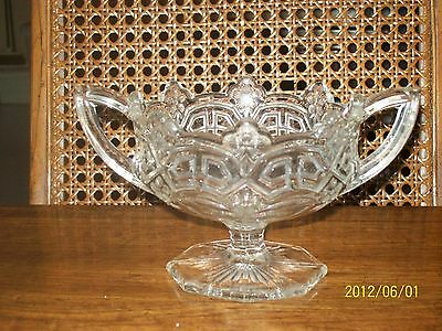 Vintage/ Antique Reverse 44 1912 Clear Cut Glass Two Handled USA Glass Co. Ca.