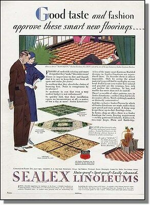 1929 Good Taste & Fashion Linoleum Floor Color Print-Ad