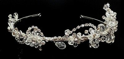 Bridal Wedding Prom Sparkling Flower Crystal Floral Crown Tiara Headband H810