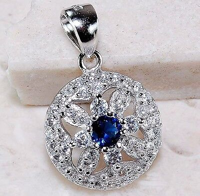 1CT Blue Sapphire & White Topaz 925 Solid Sterling Silver Pendant Jewelry, T2-3