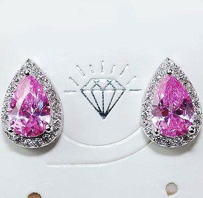 4CT Pink Sapphire & White Topaz 925 Solid Sterling Silver Earrings Jewelry, T1-6