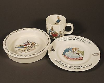Wedgwood Beatrix Potter Peter Rabbit 3 Piece Set: Baby Dish, Plate & Cup