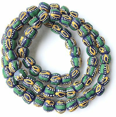 Ghana African Matched Fancy  Green multi colored Recycled glass trade beads