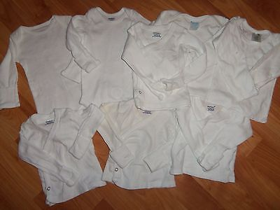 Baby Unisex Lot Of 8 White Ls T- Shirts/one-Pieces All Seasons Szs Nb 0/3&6
