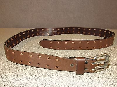 Double Prong Brown Leather Jeans Belt 42 Made in MEXICO