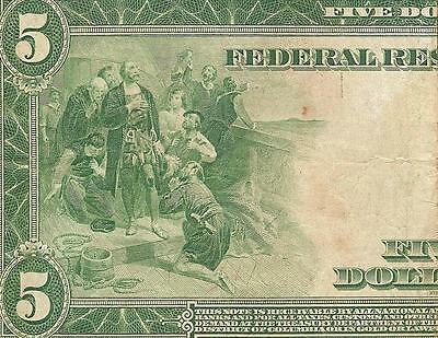 LARGE 1914 $5 DOLLAR BILL FEDERAL RESERVE NOTE BIG PAPER MONEY CURRENCY Fr 891B