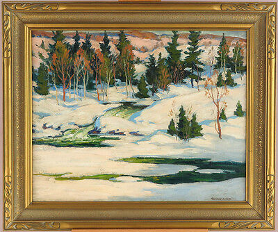 George Broomfield OSA RCA (1906-1992) Canadian Listed Oil Winter Landscape qqoo