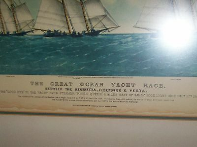 Currier & Ives Ships The Henrietta, Fleetwing & Vest The Great Ocean Yacht Race