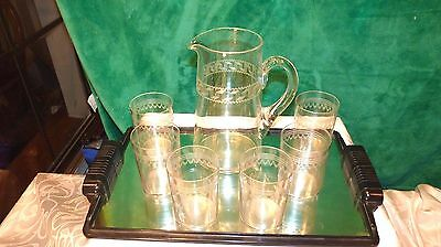 1920 GREEK KEY STYLE etched crystal PITCHER AND 6 GLASSES SITTING ON MIRROR TRAY
