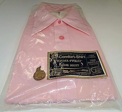 Vintage Sears Kings Rd NWT Pink Solid Dress Shirt Plain Size 18/34 Extra Large