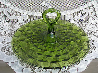 Old Vintage Colony Whitehall Green Glass Sandwich Serving Tray Kitchen Tool MCM