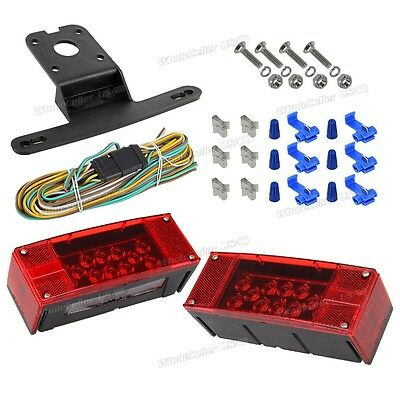 Stop Turn Tail License Light Combination Rectangular Trailer Red/White Set LED