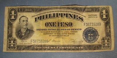1922 One Peso Philippines Victory Series No.66 Currency of United States  LQQK