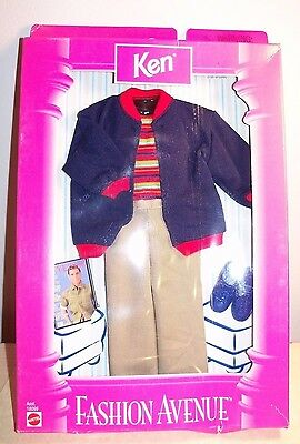 1998 NIB New Ken Barbie Doll Fashion Avenue Clothes Sweater Khaki Pants Shoes