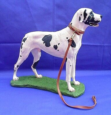 "Large 13"" Statue Figure Harlequin Spotted Great Dane Dog Detailed & Heavy 6+Lbs"