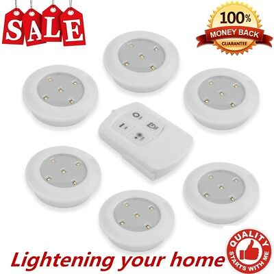 6 Wireless Kitchen Counter LED Under Cabinet Closets Lighting Puck  Light MY