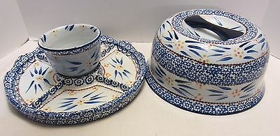 Hand Painted Italy Art Pottery Covered Divided Server Domed Blue White Yellow