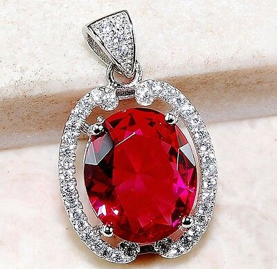 4CT Ruby & White Topaz 925 Solid Genuine Sterling Silver Pendant Jewelry, T2-7