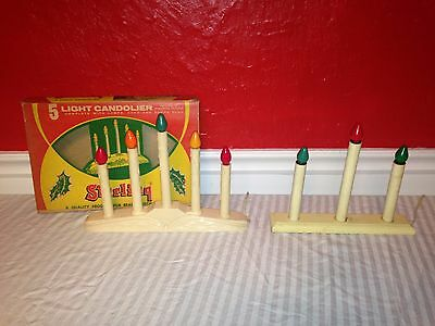 Vintage Working Christmas Lights 5 Light and 3 Light Candolier Muti color bulbs